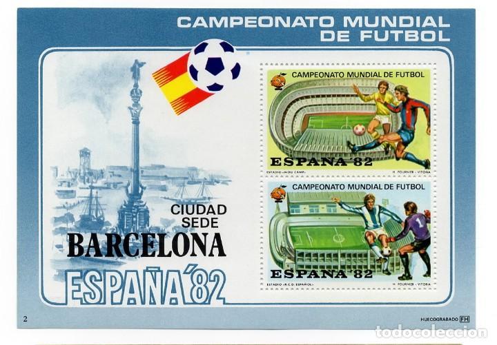 ESPAÑA 82 - CAMPEONATO MUNDIAL DE FUTBOL / CIUDADES SEDE /NOU CAMP ESPAÑOL- AÑO 1982 - HOJA RECUERDO (Sellos - España - Pruebas y Minipliegos)