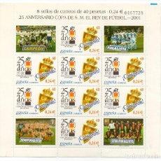 Sellos: ESPAÑA - 25 ANIVERSARIO DE LA COPA DEL REY DE FUTBOL / CAMPEON REAL ZARAGOZA - AÑO 2001 - HB. Lote 237023890