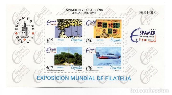 ESPAÑA - EXPOSICION DE FILATELIA / AMERICA ESPAMER 96 / AVIACION Y ESPACIO - AÑO 1996 - HB NUEVA (Sellos - España - Pruebas y Minipliegos)