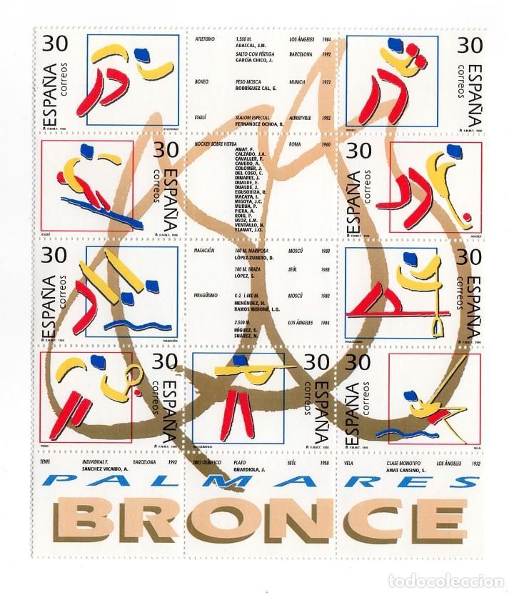 ESPAÑA - DEPORTES / OLIMPICOS DE BRONCE - AÑO 1996 - HB DE 9 SELLOS + VIÑETAS NUEVA Y PERFECTA (Sellos - España - Pruebas y Minipliegos)
