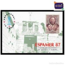Sellos: ESPAÑA 1987. HOJA RECUERDO Nº 117. EXPAMER 87, LA CORUÑA. NUEVO** MNH. Lote 255502330