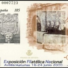Sellos: PRUEBA DE LUJO, ESPAÑA. AÑO 2000, EDIFIL Nº 72 ''EXFILNA 2000 - AVILÉS'' (NUEVA, MNH).. Lote 277128923