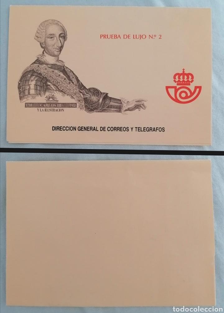 ESPAÑA 1988 - SOBRE ORIGINAL PARA LA PRUEBA DE LUJO EDIFIL 17 CARLOS III Y LA ILUSTRACIÓN (Sellos - España - Pruebas y Minipliegos)