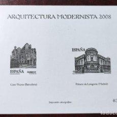 Sellos: ARQUITECTURA MODERNISTA 2008 - IMPRESION CALCOGRAFICA - EDIFIL 4402/4403. Lote 285270053
