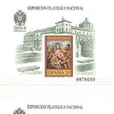 Francobolli: ESPAÑA.2 HOJITAS BLOQUE.EXFILNA 1989.PRUEBA OFICIAL Nº 19 SIN DENTAR. Lote 293996658