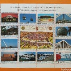 Sellos: HOJA 12 SELLOS DE CORREOS- EXPOSICIÓN UNIVERSAL SEVILLA 1992. Lote 294857098