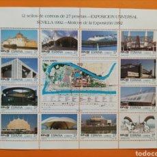 Sellos: HOJA 12 SELLOS- EXPOSICIÓN UNIVERSAL SEVILLA 1992. Lote 294857393