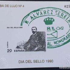 Francobolli: ESPAÑA PRUEBA OFICIAL EDIFIL 20 – DÍA DEL SELLO 1990 – LUJO Nº 4, ARTISTA 1990. Lote 295312248