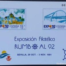 Francobolli: ESPAÑA PRUEBA OFICIAL EDIFIL 23 – EXPOSICIÓN FILATÉLICA RUMBO AL 92 SEVILLA – LUJO, ARTISTA 1991. Lote 295312743