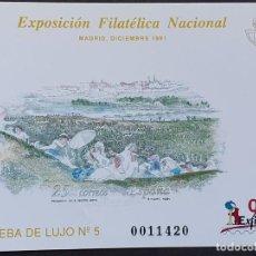 Francobolli: ESPAÑA PRUEBA OFICIAL EDIFIL 24 – EXFILNA 91 MADRID – LUJO Nº 5, ARTISTA 1991. Lote 295313043