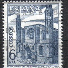 Sellos: ESPAÑA 1983 - 6 P EDIFIL 2725 - BASILICA STA. MARIA DEL MAR (BARCELONA) - USADO. Lote 8112800