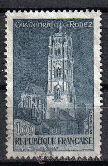 FRANCIA 1967 1 F YVERT 1504. CATEDRAL DE RODEZ (Sellos - Temáticas - Religión)