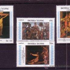 Sellos: SIERRA LEONA 643/46** - AÑO 1985 - PASCUA - PINTURA RELIGIOSA - OBRAS DE BOTTICELLI Y VELAZQUEZ. Lote 27367812