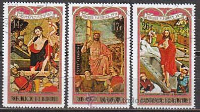 BURUNDI, PASCUA FLORIDA 1981, PINTURAS DE DELLA FRANCESCA, BORRASSA,,,, AEREOS USADOS (Sellos - Temáticas - Religión)