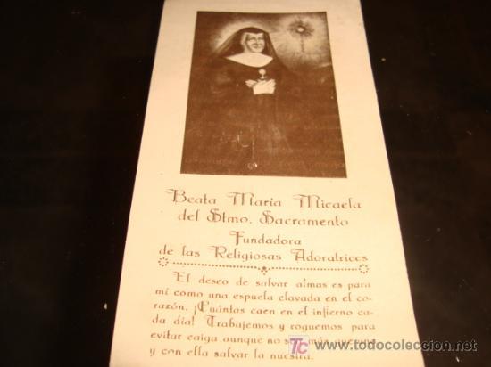ESTAMPA DE MARIA MICAELA DEL SANTISIMO SACRAMENTO, , PARTE POSTERIOR, ORACION A LA BEATA (Sellos - Temáticas - Religión)