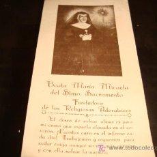 Sellos: ESTAMPA DE MARIA MICAELA DEL SANTISIMO SACRAMENTO, , PARTE POSTERIOR, ORACION A LA BEATA. Lote 15596351