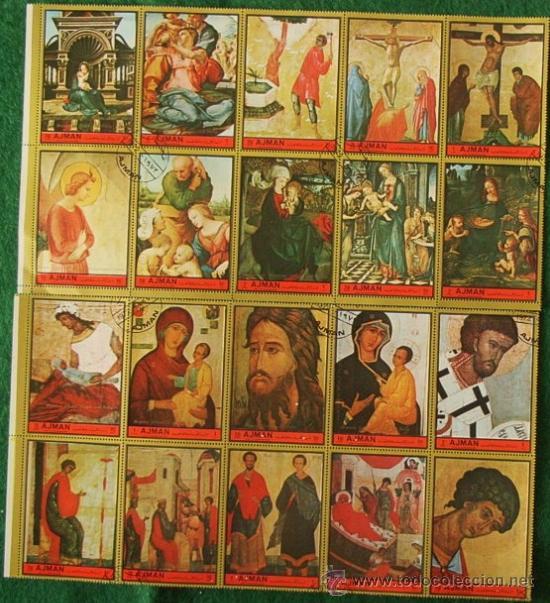 LOTE 20 SELLOS MAESTROS PINTORES RELIGION - ARTE (AHORRA GASTOS COMPRANDO MAS SELLO) PINTURA (Sellos - Temáticas - Religión)