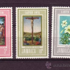 Sellos: JAMAICA 312/14*** - AÑO 1970 - PASCUA - PINTURA - OBRAS DE CRANACH Y MESSINA - FLORA - FLORES. Lote 25701362