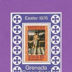 Sellos: PINTURA - S. SANTA /PASCUA - GRENADA GRENADINES - VIDA DE CRISTO - S.COMPLETA DE 1 HB - AÑO 1976. Lote 26171625