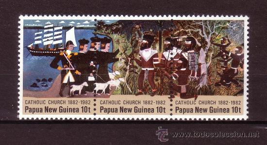 PAPUA 442/44** - AÑO 1982 - CENTENARIO DE LA IGLESIA CATÓLICA EN PAPUASIA Y NUEVA GUINEA (Sellos - Temáticas - Religión)