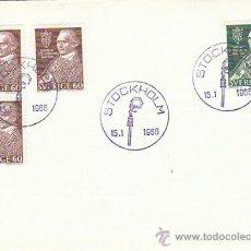 Sellos: SUECIA IVERT 531/2, ARZOBISPO NATHAN SODERBLOM, UNIFICADOR IGLESIAS CRISTIANAS, PRIMER DIA 15-1-1966. Lote 31013427
