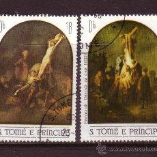 Sellos: SANTO TOME 731/32 - AÑO 1983 - PASCUA - PINTURA RELIGIOSA - OBRAS DE REMBRANDT. Lote 33350824