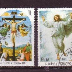 Sellos: SANTO TOME 735/36 - AÑO 1983 - PASCUA - PINTURA RELIGIOSA - OBRAS DE RAPHAEL. Lote 33350852