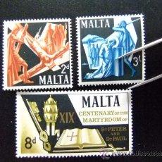Sellos: MALTA YVERT Nº 355 - 357 ** SANT PEDRO Y SANT PABLO MARTIRES. Lote 35035756