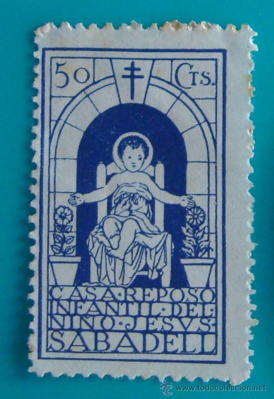 VIÑETA, SABADELL, CASA REPOSO INFANTIL DEL NIÑO JESUS, 50 CTS, NUEVO SIN GOMA (Sellos - Temáticas - Religión)
