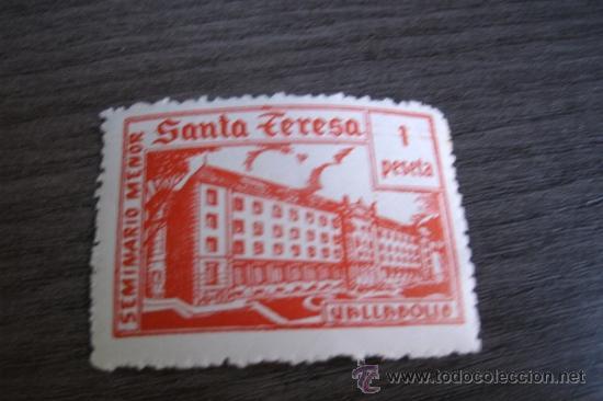 ANTIGUO SELLO ESPAÑOL DE UNA PESETA - SEMINARIO MENOR SANTA TERESA - VALLADOLID (Sellos - Temáticas - Religión)
