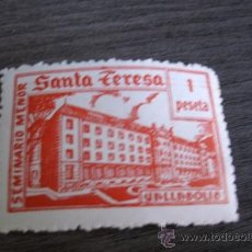 Sellos: ANTIGUO SELLO ESPAÑOL DE UNA PESETA - SEMINARIO MENOR SANTA TERESA - VALLADOLID. Lote 38058703