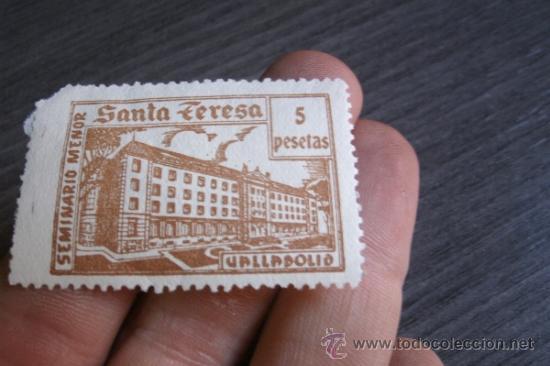 Sellos: ANTIGUO SELLO ESPAÑOL DE 5 PESETAS - SEMINARIO MENOR SANTA TERESA - VALLADOLID - Foto 2 - 38058708