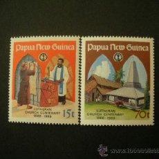 Sellos: PAPUA Y NUEVA GUINEA 1986 IVERT 524/5 *** CENTENARIO DE LA IGLESIA LUTERANA. Lote 38447126