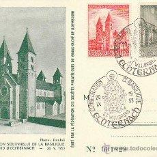 Sellos: LUXEMBURGO. CONSAGRACIÓN DE LA BASILICA DE ECHTERNACH, SAN WILLIBORD. MATASELLOS DEL 20-9-1953. Lote 40184410