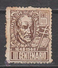 VIÑETA, 1948, 3º CENTENARIO DE SAN JOSÉ DE CALASANZ (1648-1948) (Sellos - Temáticas - Religión)