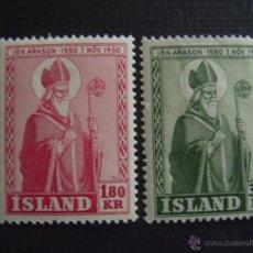 Sellos: ISLANDIA Nº YVERT 234/5*** AÑO 1950. 4º CENTENARIO MUERTE OBISPO JON ARASON. Lote 114945655