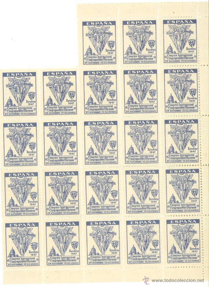 HOJITA BLOQUE (FALTAN 2) CONGRESO INTERNACIONAL CONGREGACIONES MARIANAS BARCELONA 1947 (Sellos - Temáticas - Religión)