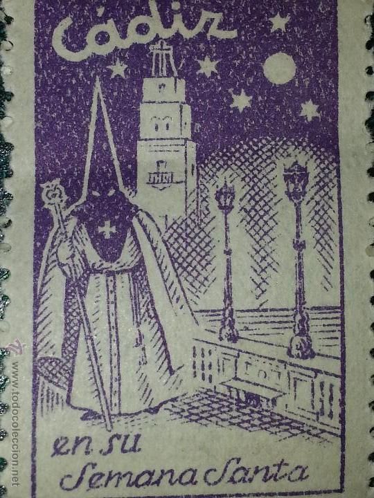ANTIGUO SELLO DE LA SEMANA SANTA DE CADIZ LILA MORADO (Sellos - Temáticas - Religión)
