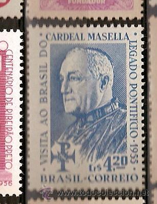 BRASIL * & VISITA AO BRASIL DO CARDEAL MASELLA, LEGADO PONTIFICIO 1955 (609) (Sellos - Temáticas - Religión)