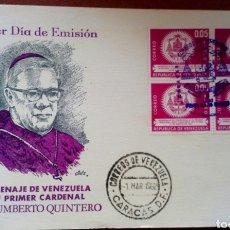 Sellos: SOBRE CON SELLOS DE VENEZUELA. 1A. EMISIÓN 1962. 1ER. CARDENAL JOSÉ H. QUINTERO . Lote 96762360