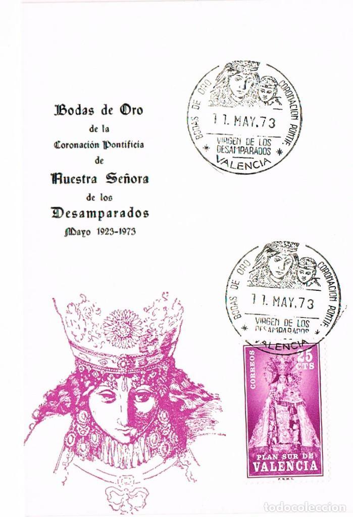 1973, BODAS DE ORO CORONACION VIRGEN DE LOS DESAMPARADOS (VALENCIA) TARJETA MAXIMA DE 11-5-1973 (Sellos - Temáticas - Religión)