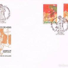 Sellos: PORTUGAL IVERT 1530/10, 8º CENTENARIO DE SAN FRANCISCO DE ASIS, PRIMER DIA DE 20-11-1982. Lote 113337343