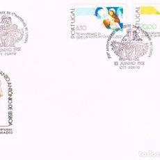 Sellos: PORTUGAL IVERT 1512/3, 750 ANIVERSARIO DE SAN ANTONIO DE LISBOA, PRIMER DIA DE 13-6-1981. Lote 113337495