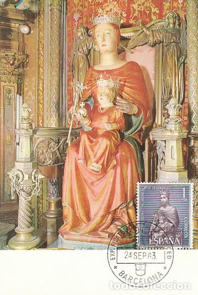 EDIFIL 1523, 75 ANIVº CORONACION DE LA VIRGEN MERCED TARJETA MAXIMA PRIMER DIA ESPECIAL DE 24-9-196 (Sellos - Temáticas - Religión)