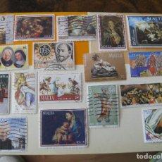Sellos: LOTE DE 17 SELLOS DE MALTA, TEMA RELIGION. Lote 120025835