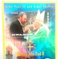 Sellos: JUAN PABLO II & FIDEL CASTRO HOJA BLOQUE DE SELLOS NUEVOS DE RWANDA. Lote 121500456