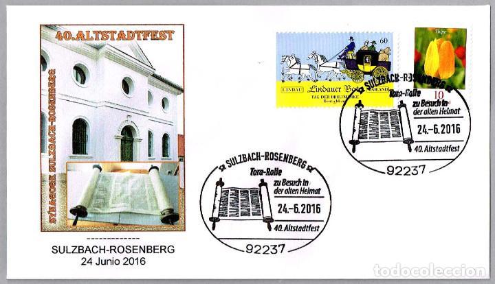 Sellos: Matasellos de JUDAISMO - JUDAICA - ROLLO DE LA TORA. Sulzbach-Rosenberg, Alemania, 2016 - Foto 1 - 123786415