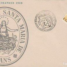 Sellos: AÑO 1958, IV EXPOSICIÓN FILATELICA DE SANS HOSTAFRANCH, SOBRE DE LA PARROQUIA DEL SANTA MARIA. Lote 124437791