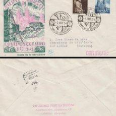 Sellos: EDIFIL 1130/1, AÑO SANTO COMPOSTELANO 1954, PRIMER DIA 1-3-1954 SOBRE DE PANFILATELICAS CIRCULADO. Lote 128037951