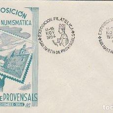 Sellos: AÑO 1954, VIRGEN DE MONTSERRAT, EXPOSICION DE SAN MARTIN PROVENSALS, SOBRE DE PANFILATELICAS. Lote 128039015